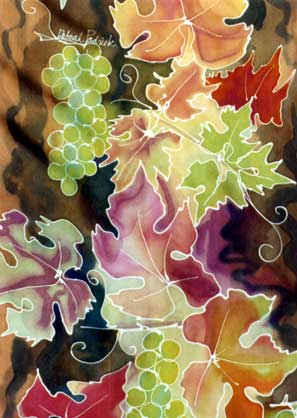 fall leaves & grapes on silk